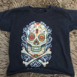 Day of the Dead black cotton tee - size 3/4T